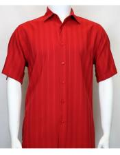 red Short Sleeve shadow stripe mens fashion shirt