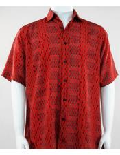 Short Sleeve button down mens red fashion shirt