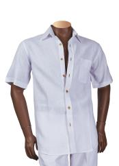Mens 100% Linen Short Sleeve White Collared Shirt