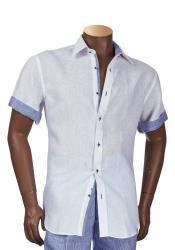 Mens Short Sleeve 100% Linen Shirt With Contrast Trimming White