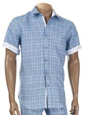 Mens Short Sleeve Windowpane Designed 100% Linen Two Piece Denim Blue Shirt