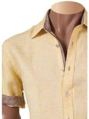 Mens 100% Linen Fashion Shirt Short Sleeve Summer Yellow
