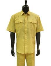 Butter Lemon Yellow Linen 2 Piece Short Sleeve Casual Casual Two