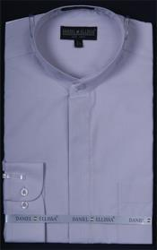 Collarless Dress Shirt Silver