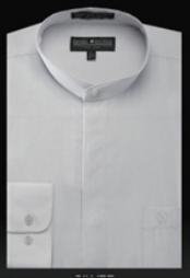 Oriental Mao Chines Style No Collar Basic Banded Collar dress shirts Preacher Round Style Mandarin Collarless Silver