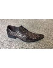 Silver ~ Black Man Made Texture Dot Pattern Lace Up Geniune