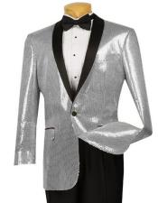 Silver Shiny Paisley Black Lapel Mens Blazer ~ Sport Coat  Tuxedo