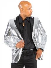 Mens 2 Button Sequin Designed Silver Blazer Dinner Jacket