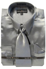 Cheap Sale Mens New Silver Satin Dress Shirt Combinations Set Tie