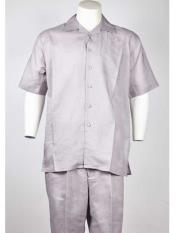 Silver Short Sleeve Polyester Casual Two Piece Walking Outfit For Sale