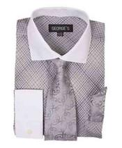 French Cuff Silver Mini Plaid/Checks White Collar Two Toned Contrast Shirt With