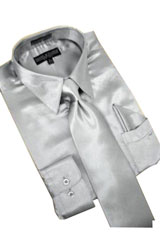 Cheap Sale Satin Silver Grey Dress Shirt Combinations Tie Hanky Set