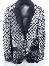 Shiny Flashy Fashion Silver Sequin Blazer ~ Sport coat Dinner Jacket