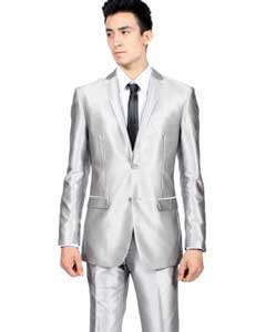 Mens Slim Fit Shiny Silver Tuxedo Formal Looking Sharkskin Suit
