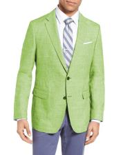 Mens Single Breasted Two Buttons Wool & Linen Apple Green Slim Fit Blazer
