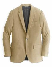 Beige Single Breasted Cashmere & Wool Blazer