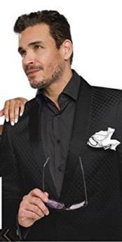 Mens One Button Single Breasted Shawl Lapel Diamond Design Black Blazer