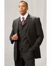 Mens Poly Poplin 3 Piece Black  Matching Vest Dress Suit