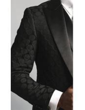 Single Breasted Satin Peak Lapel black fancy designed suit