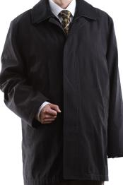 Mens Single Breasted Collared Black 3/4 Length Waterproof Raincoat