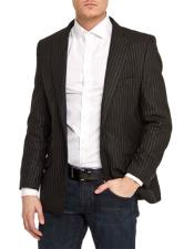 Mens Single Breasted Black Slim Fit Pinstripe 1 Button Blazer