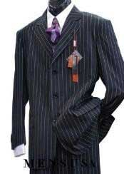 Light Weight Beautiful Jet Liquid Black & Bold With Pinstripe 1920s
