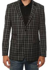 Ferrecci Mens Plaid Slim Fit Black Blazer Dinner Jacket