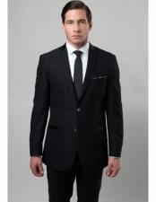 Slim Fit 2 Button Notch Lapel Single Breasted Side Vent Black Poly Rayon Suit