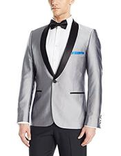 Cheap Priced Designer Fashion Dress Casual Blazer For Men On Sale Black Shawl Lapel Shiny Silver Blazer