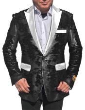 Alberto Nardoni Black Shiny Sequin Tuxedo White Lapel paisley look sport