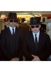 Brothers Black Suit Costume + White Shirt & Skinny Black Tie and Same Hat