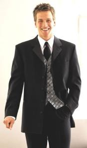 LK03 5 Buttons Long Tuxedo Suit 5button Notch Satin lapels Singlebreasted