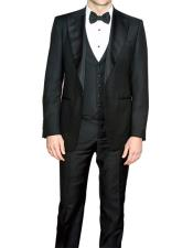 Single Breasted Slim Fit Black 3 Piece Fully Lined Tuxedo Suit