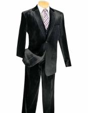 Notch Lapel Single Breasted 3 Piece Black Velvet Vested Suits