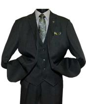 Black Notch Lapel Single Breasted Two Button Vested Suit