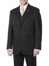 Mens 3 Piece Peak Lapel Tone on Tone Shadow Stripe Black On