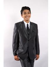 5 Piece Single Breasted Black Suit Vested w/Shirt Tie & Hanky Stylish Sheen