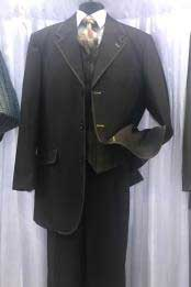 Moda Mens Black High Fashion Vested Cheap Priced Business Suits Clearance