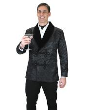 Black brocade vintage smoking fashionable jacket