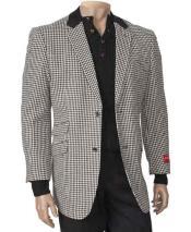 Black/White Single Breasted Peal Lapel houndstooth checkered Fashion Blazer