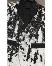"Fashion Alberto Nardoni Black ~ White Shiny Sequin Tuxedo Black Lapel ""paisley look"" sport jacket ~ coat"
