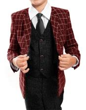 Boys ~ Kids ~ Children Kids Sizes Toddler Suit Black/Red Plaid ~