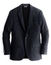 Two Buttons Cashmere & Wool Black Blazer For Mens