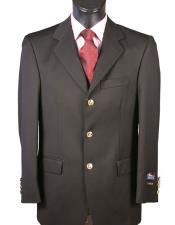 Mens 3 Button Single breasted Black Blazer 100% Wool Classic Fit Blazer