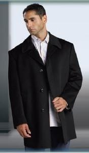 Sale Shorter Length Wool Blend Single Breasted Mens Overcoat 3 Buttons