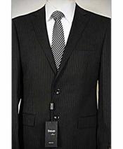 Italian 2 Piece Black Tonal Single Breasted Notch Lapel Wool Suit