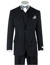 Tiglio Single Breasted Black Pin-Stripe Wide Leg Pants Pure Wool Suit