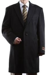 Mens Single Breasted Black Luxury Wool/Cashmere Three-quarter Length Topcoats ~ overcoat