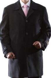 Dress Coat Single Breasted Black Luxury Wool Cashmere Three-quarter Length Topcoats ~ overcoat