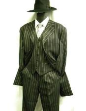 Mens Bold Pronounce Pinstripe Three Piece Zoot Fashion Suit 1920s